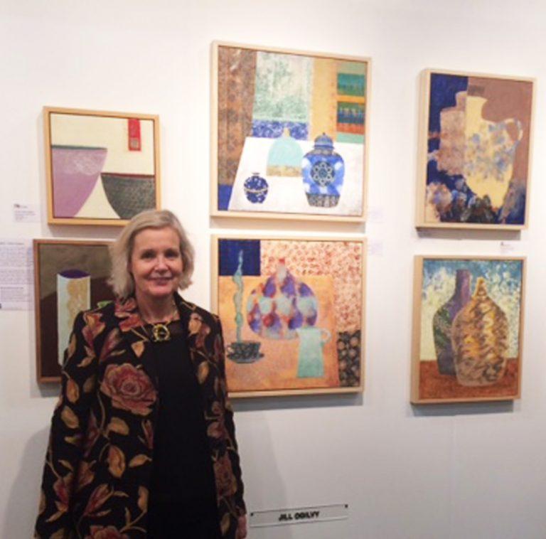 Jill Ogilvy at Battersea Art Fair with paintings