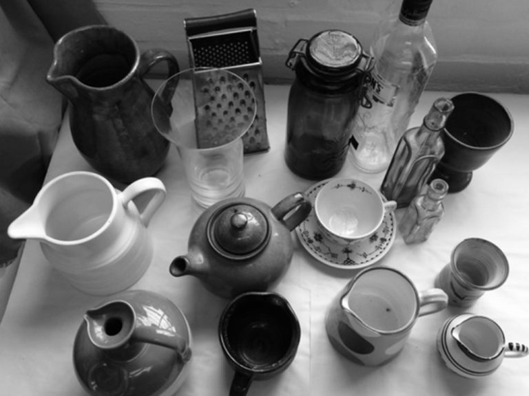 studio jugs and containers viewed from above
